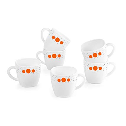 Cello Opalware 12 pcs Cup and Saucer Set, Polka Drops
