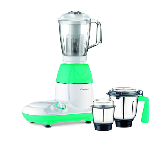 Bajaj Twister Fruity 750-Watt Mixer Grinder with 3 Jars (White/Green)