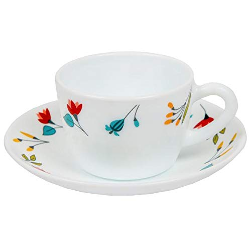Larah by Borosil Opalware Glass Cup and Saucer Set, 12 Pcs Set (Minerva)
