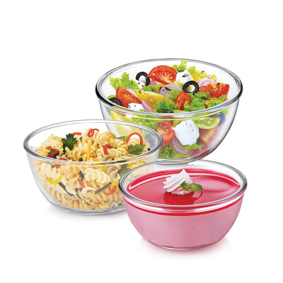 Cello Ornella Toughened Glass Mixing Bowl Set of 3 (500ml,1000ml,1500ml)