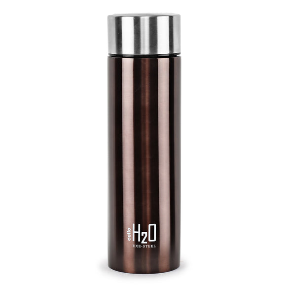 Cello H2O Stainless Steel Water Bottle, 1 Litre, Brown