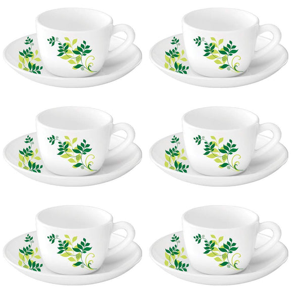 Larah by Borosil Opalware Glass Cup and Saucer Set, 12 Pcs Set (Fern)