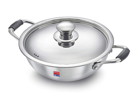 Prestige Induction Base Stainless Steel Kadai, 240mm, Silver