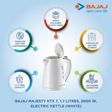 Bajaj Majesty NEW KTX 7 1.7-Litre Cordless Kettle (White)