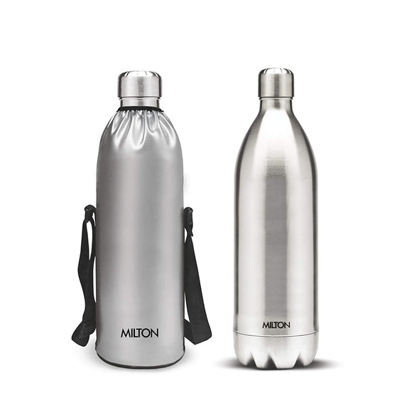 Milton Thermosteel Duo DLX 1800 Stainless Steel Water Bottle, 1.8 Liters, Steel
