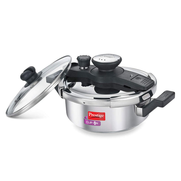 Prestige Clip On Stainless Steel Pressure Cooker with Glass Lid, 3 Litres, Silver