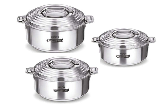 Milton Thermosteel Galaxia Casserole Set Of 3pcs 1000ml,1500ml,2500ml.