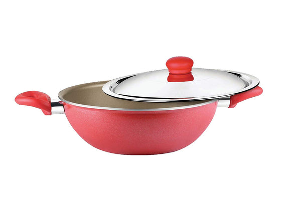 Prestige Omega Gold Induction Base Non-Stick Aluminum Kadhai with Lid, 240mm/2.8 Litres, Metallic Red