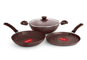 Pigeon Nonstick Gift Set - Granito 4 Pcs Induction Base Brown