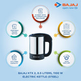 Bajaj Majesty KTX 2 0.5-Litre Travel Kettle (Black)