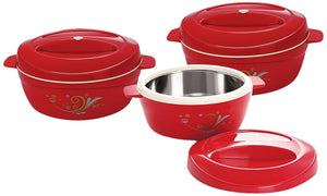Cello Alpha Casseroles Gift Set, 3-Pieces, Maroon
