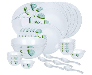 Larah By Borosil Opalware Dinner Set, 33-Pieces, White , New Design ( Green Lily )
