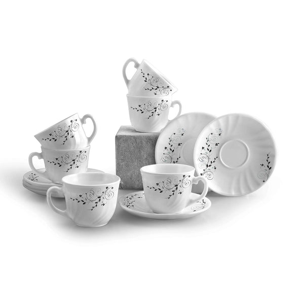Cello Opalware 12 pcs Cup and Saucer Set, Ornate Black