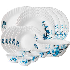 Larah By Borosil Mimosa Opalware Dinner Set, 19-Pieces