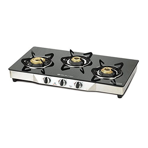 Bajaj CGX 3 SS Eco Stainless Steel 3 Burner Gas Stove, Black/Silver