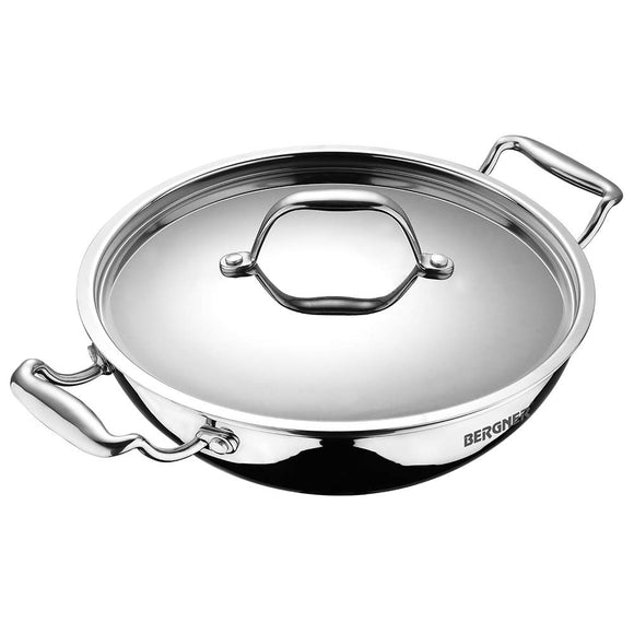 Bergner Argent Triply Stainless Steel Kadhai with Stainless Steel Lid, 24 cm, 2.5 Liters, Induction Base, Silver