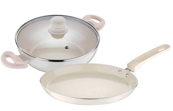 Bergner Bellini Plus Aluminium Cookware Set, 2-Pieces, Cream