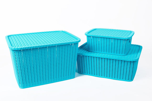 IncredibleThings Storage Basket with Lid (Set of 3) Blue