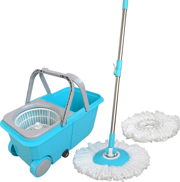 Polyset Cleaning Experts Plastic Magic Spin Mop Set Of 4 Pieces (Blue)