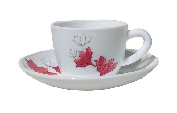 Larah by Borosil 12 pcs Cup and Saucer Set, Ruby