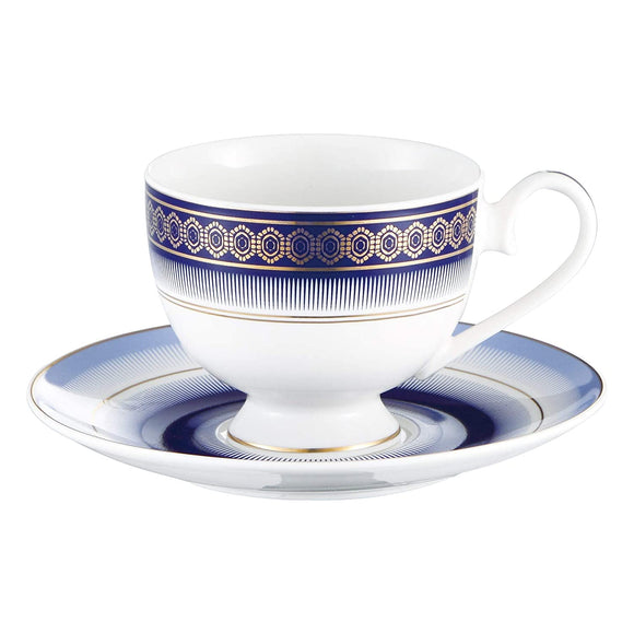 Bergner Admiralty 6 Pcs Cup & 6 Pcs Saucer Set, 220 ml, Navy Blue