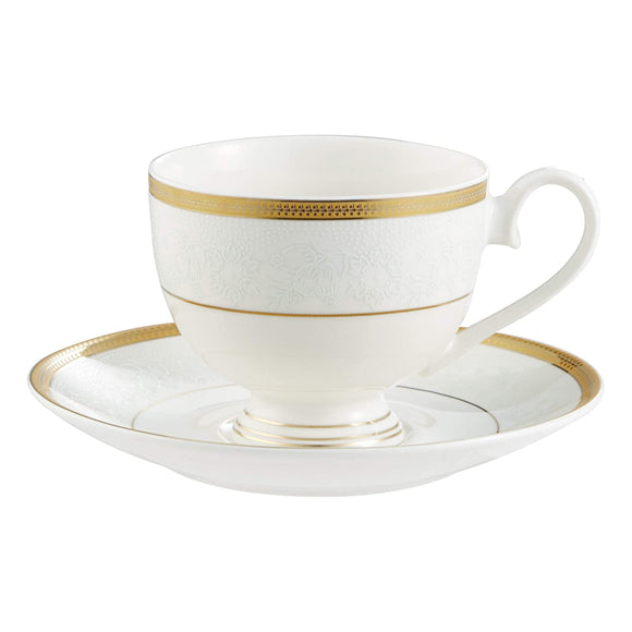 Bergner Grace 6 Pcs Cup & 6 Pcs Saucer Set, 220 ml, White