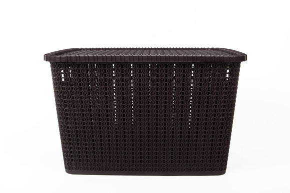 IncredibleThings Storage Basket with Lid, 25 Ltrs, BROWN