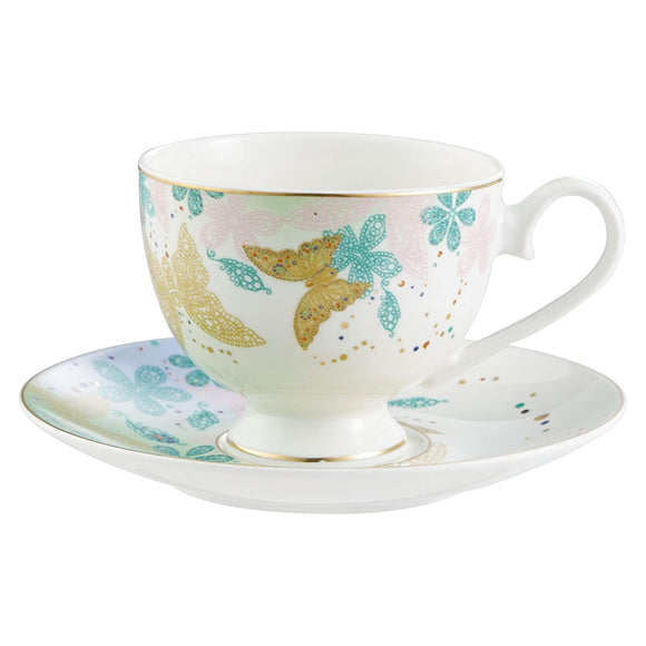 Bergner Butterfly 6 Pcs Cup & 6 Pcs Saucer Set, 220 ml, Multi Color