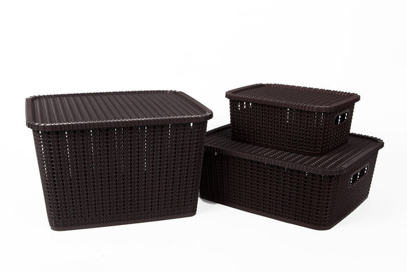 IncredibleThings Storage Basket with Lid (Set of 3) Dark Brown