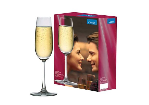Ocean Madison Flute Champagne Glass 210ml, Transparent, Set Of 6