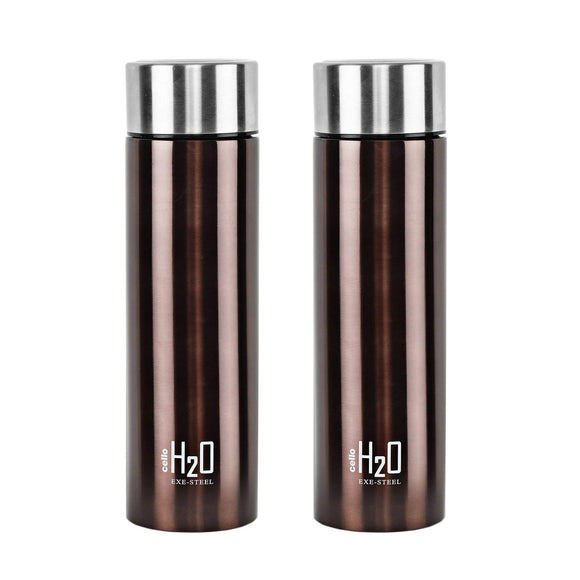 Cello H2O Stainless Steel Water Bottle Set, 1 Litre, Set of 2, Brown