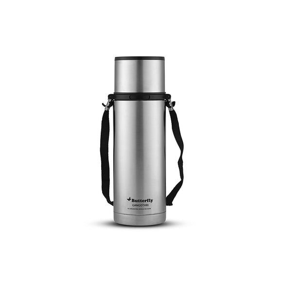Butterfly Gangothri Stainless Steel Flask, 900ml (Silver/Black)