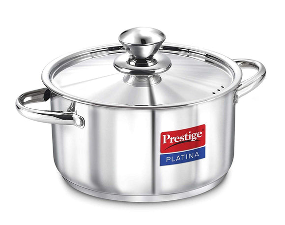 Prestige Platina Induction Base Stainless Steel Casserole, 200mm/3 Litres, Metallic Steel