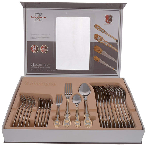 SWISS HOME 18/8 Steel Mixed Cutlery Set, 24-Piece, Golden