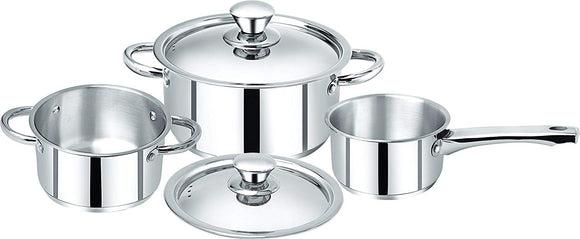 Bergner Acier Stainless Steel Casserole and Saucepan Set, 3-Pieces, Silver