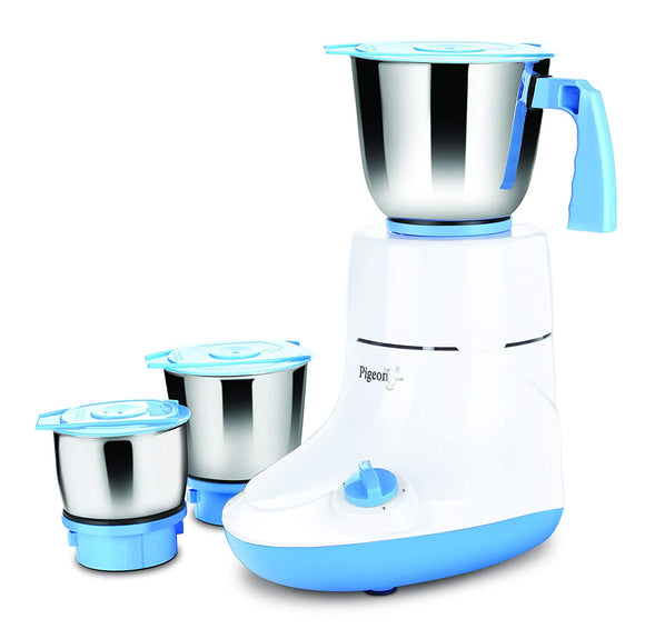 Pigeon by Stovekraft Glory 550 Watts Mixer Grinder with 3 Stainless Steel Jars for Dry Grinding, Wet Grinding and Making Chutney