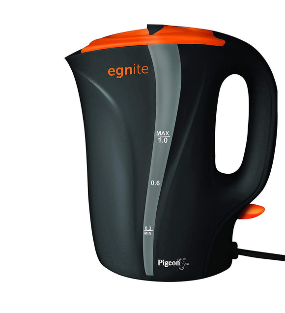 Pigeon By Stovekraft Egnite EG1000 1-Litre Electric Kettle (Black/Orange)
