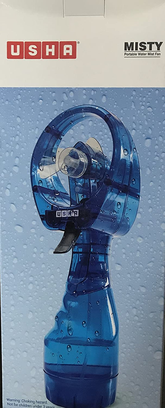 USHA Misty Handheld Fan with Mist Spray (Blue)