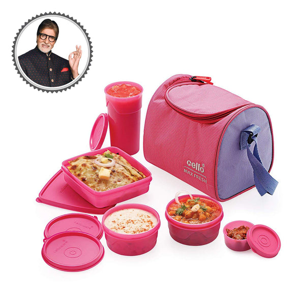 Cello Max Fresh Sling 5 Microwave Safe Leek Proof Container Set Lunch Box With Bag