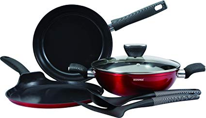 Bergner Carbon TT 6 Pcs Forged Aluminium Cookware Set, Red