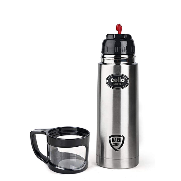 Cello Instyle Stainless Steel Flask, 750 ml, Black