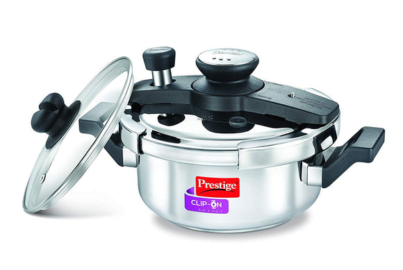 Prestige Clip-on Mini Induction Base Stainless Steel Pressure Cooker with Lid, 2 Litre Metallic Silver