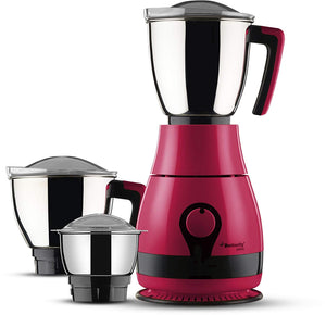 Butterfly Pebble 600-Watt Mixer Grinder with 3 Jars (Pink)