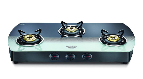 Prestige Premia Glass 3 Burner Gas Stove (Black and White)