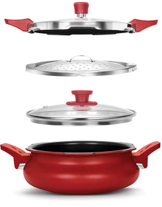 Pigeon Aluminium All in One Super Cooker, 3 Litres, Red