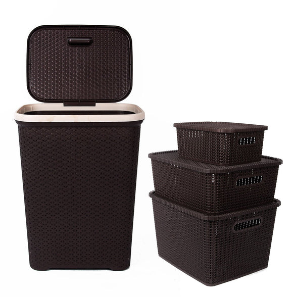 IncredibleThings Laundry Basket with lid and 3 Pc Storage Baskets with Lid Combo, Dark Brown