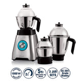 Cello Grind-N-Mix Alpha 1000w Steel Mixer Grinder with 3 jars, Black and Silver