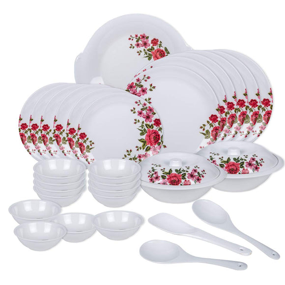 Vama Melamine Dinner Set - 32 Pieces, Multicolour