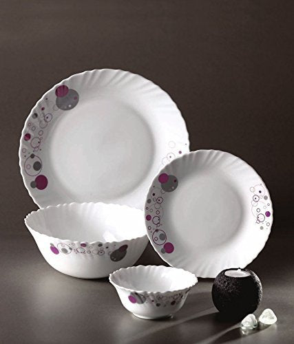 Diva from La Opala Purple Haze Classique Collection Opalware Dinner Set, 19 Pieces, White
