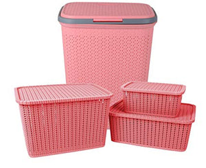 IncredibleThings Laundry Basket with lid and 3 Pc Storage Baskets with Lid Combo, Pink